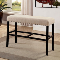 Furniture of America FOA-CM3324BK-BBN Sania Ii Rustic Bar Ht. Bench