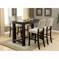 Furniture of America FOA-CM3324BK-BT-5PC-BCW Sania Ii Rustic Bar Ht. Table + 4 Wingback Chairs