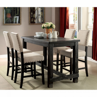 Furniture of America FOA-CM3324BK-PT-5PC-PCW Sania Ii Rustic Table + 4 Wingback Chairs