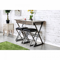 Furniture of America FOA-CM3369BT-3PC Glasby Industrial Table + 2 Stools