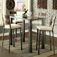 Furniture of America FOA-CM3686BT-5PC Jazlyn Ii Industrial Table + 4 Chairs