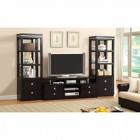 "Furniture of America FOA-CM5825-TV-3PC Tolland Transitional 66"" Tv Console + 2 Pier Cabinets"
