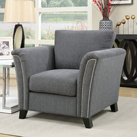 Furniture of America FOA-CM6095GY-CH Campbell Contemporary Chair, Gray