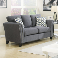 Furniture of America FOA-CM6095GY-LV Campbell Contemporary Love Seat, Gray