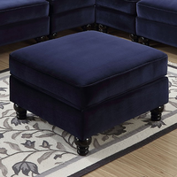 Furniture of America FOA-CM6158BL-OT Jolanda Ii Traditional Ottoman, Blue