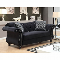 Furniture of America FOA-CM6159BK-LV Jolanda I Glam Love Seat
