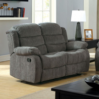 Furniture of America FOA-CM6173GY-LV Millville Transitional Motion Love Seat w/ Gray Chenille