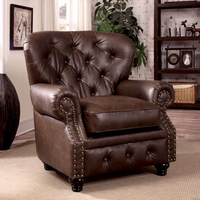 Furniture of America FOA-CM6269BR-CH Stanford Traditional Chair, Brown Leatherette