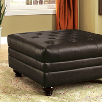 Furniture of America FOA-CM6270BR-OT Ottoman, Brown Leatherette Brown