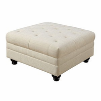 Furniture of America FOA-CM6270IV-OT Ottoman, Ivory Fabric Brown