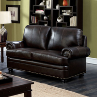 Furniture of America FOA-CM6318DB-LV Reinhardt Transitional Love Seat, Dark Brown