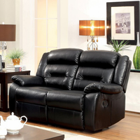 Furniture of America FOA-CM6320-LV Sheldon Contemporary Motion Love Seat w/ Black Bonded Leather Match