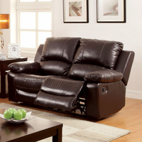 Furniture of America FOA-CM6327-LV Davenport Transitional Motion Love Seat w/ Top Grain Leather Match