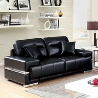 Furniture of America FOA-CM6411BK-LV Zibak Contemporary Love Seat, Black