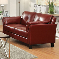 Furniture of America FOA-CM6717RD-LV-PK Pierre Contemporary Love Seat, Mahogany Red