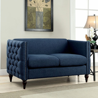 Furniture of America FOA-CM6780BL-LV-SET Emer Contemporary Love Seat, Blue