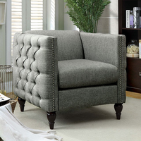 Furniture of America FOA-CM6780GY-CH-SET Emer Contemporary Chair, Gray