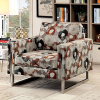 Furniture of America FOA-CM6855PA-CH Chair w/ Pattern Pewter