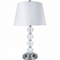 "Furniture of America FOA-L76188T-2PK 30""H Table Lamp Silver/Clear"