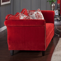 Furniture of America FOA-SM2232-LV Zaffiro Traditional Love Seat, Ruby Red