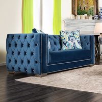 Furniture of America FOA-SM2280-LV Salvatore Glam Love Seat, Lapis Blue