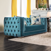 Furniture of America FOA-SM2282-LV Turquoise Glam Love Seat, Turquoise