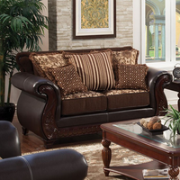 Furniture of America FOA-SM6106N-LV Franklin Traditional Love Seat, Dark Brown