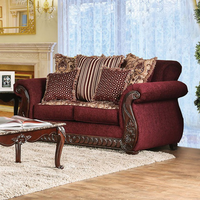 Furniture of America FOA-SM6110-LV Tabitha Traditional Love Seat, Wine