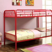 Furniture of America FOA-CM-BK1035RD Rainbow Contemporary Metal Twin/twin Bunk Bed, Red