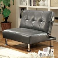 Furniture of America FOA-CM2669GY-CH Bulle Contemporary Chair w/ Side Pockets On Both Sides w/ Gray