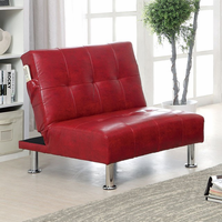 Furniture of America FOA-CM2669RD-CH Bulle Contemporary Chair w/ Side Pockets On Both Sides w/ Red