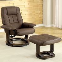 Furniture of America FOA-CM-RC6920 Cheste Traditional Lounger w/ Ottoman, Brown