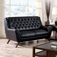 Furniture of America FOA-CM6035BK-LV Leia Midcentury Modern Love Seat, Black
