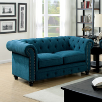 Furniture of America FOA-CM6269TL-LV Stanford Traditional Love Seat, Dark Teal Fabric
