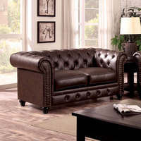 Furniture of America FOA-CM6269BR-LV Stanford Traditional Love Seat, Brown Leatherette