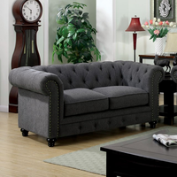 Furniture of America FOA-CM6269GY-LV Stanford Traditional Love Seat, Gray Fabric
