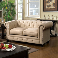 Furniture of America FOA-CM6269IV-LV Stanford Traditional Love Seat, Ivory Fabric