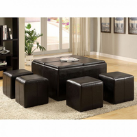 Furniture of America FOA-CM4046 Holloway Contemporary Tray Top Nested Ottomans