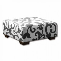 Furniture of America FOA-SM3010-OT Cranbrook Transitional Ottoman, Charcoal Pattern