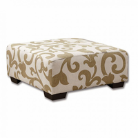 Furniture of America FOA-SM3011-OT Cranbrook Transitional Ottoman, Foral Pattern