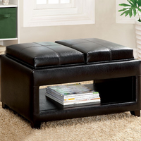 Furniture of America FOA-CM-BN6102 Ely Contemporary Tray Top Ottoman w/ Open Shelf
