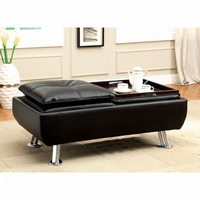 Furniture of America FOA-CM2677BK-OT Hauser Ii Contemporary Ottoman, Black Finish