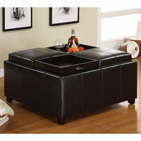 Furniture of America FOA-CM4044 Elvina Contemporary Tray Top Storage Ottoman