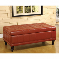 Furniture of America FOA-CM-BN6968-RED Randel Contemporary Storage Ottoman, Mahogany Red
