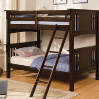 Furniture of America FOA-CM-BK602T-EXP-BED Spring Creek Cottage Twin/twin Bunk Bed, Dark Walnut Finish