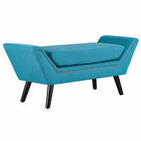 Gambol Upholstered Fabric Bench, Pure Water [FREE SHIPPING]
