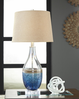 Ashley Express Furniture - Johanna - L430514 - Glass Table Lamp (2/CN), Blue/Clear