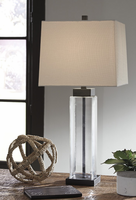 Ashley Express Furniture - Alvaro - L431374 - Glass Table Lamp (2/CN), Clear/Bronze Finish