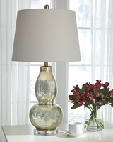 Ashley Express Furniture - Laraine - L430554 - Glass Table Lamp (2/CN), Gold Finish