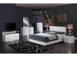Global Furniture 8103-WH- QB (M) QUEEN BED WHITE WHITE GLOSS